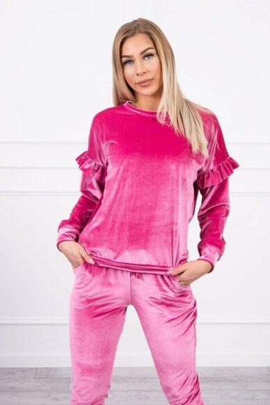 Rožinės spalvos veliūrinis kostiumėlis MOD856 3