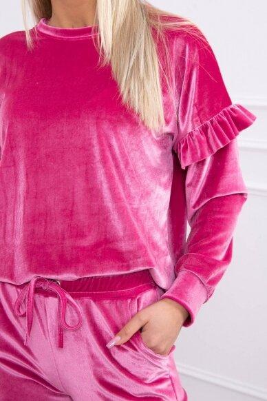 Rožinės spalvos veliūrinis kostiumėlis MOD856 4