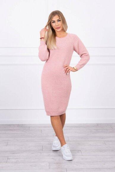 Šviesiai rožinės spalvos ilgas megztinis suknelė MOD492 3