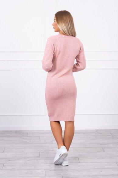 Šviesiai rožinės spalvos ilgas megztinis suknelė MOD492 2
