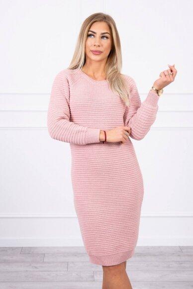 Šviesiai rožinės spalvos ilgas megztinis suknelė MOD492