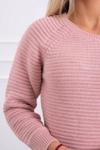 Šviesiai rožinės spalvos ilgas megztinis suknelė MOD492 4