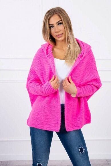 Neoninės rožinės spalvos megztinis kardiganas MOD378