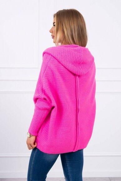 Neoninės rožinės spalvos megztinis kardiganas MOD378 2