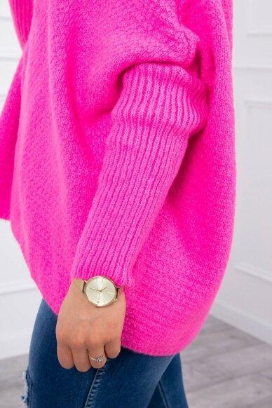 Neoninės rožinės spalvos megztinis kardiganas MOD378 3