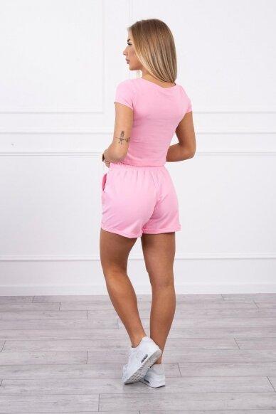 Šviesiai rožinės spalvos moteriškas kostiumėlis MOD688 2