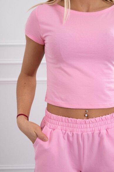 Šviesiai rožinės spalvos moteriškas kostiumėlis MOD688 4