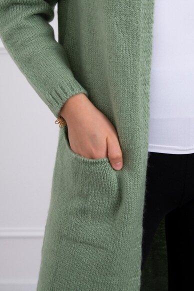 Tamsiai mėtinės spalvos megztinis kardiganas MOD736 4