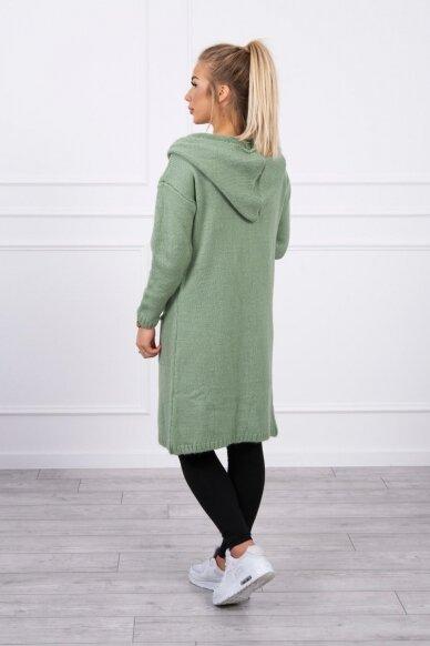 Tamsiai mėtinės spalvos megztinis kardiganas MOD736 2