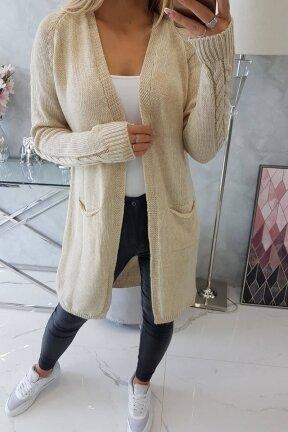 Smėlinės spalvos ilgas megztinis kardiganas MOD728