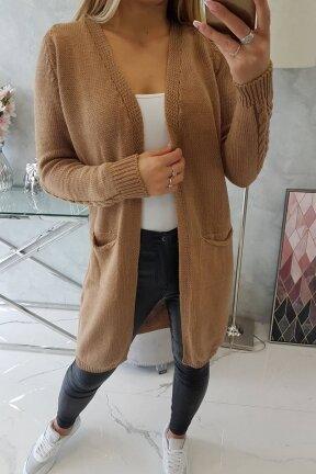 Šviesiai rudas ilgas megztinis kardiganas MOD728