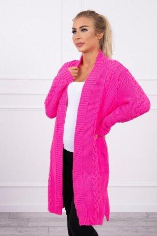 Neoninės rožinės spalvos megztinis kardiganas MOD306