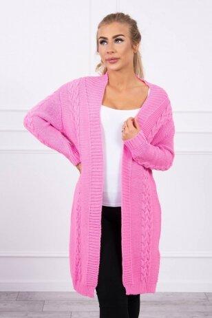 Šviesiai rožinės spalvos megztinis kardiganas MOD306