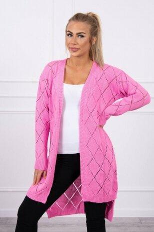Šviesiai rožinės spalvos megztinis kardiganas MOD735