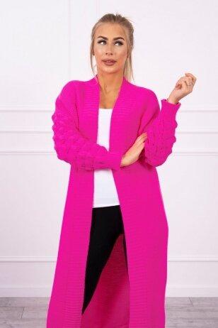 Neoninės rožinės spalvos ilgas megztinis kardiganas MOD729