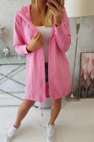 Šviesiai rožinės spalvos kardiganas MOD759