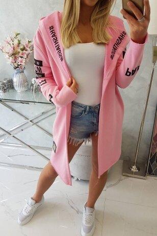Šviesiai rožinės spalvos kardiganas MOD029