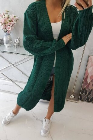 Tamsiai žalias ilgas megztinis kardiganas MOD307