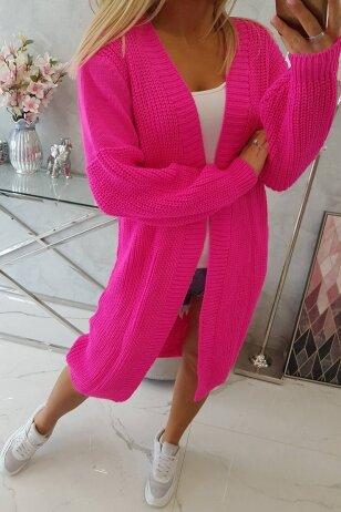 Neoninės rožinės spalvos ilgas megztinis kardiganas MOD307