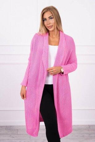 Šviesiai rožinės spalvos ilgas megztinis kardiganas MOD319