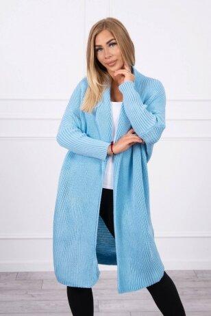 Žydros spalvos ilgas megztinis kardiganas MOD319