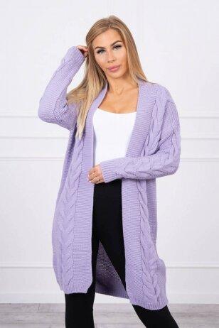 Violetinės spalvos megztas kardiganas MOD1397