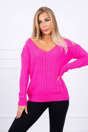 Neoninės rožinės spalvos megztinis MOD484