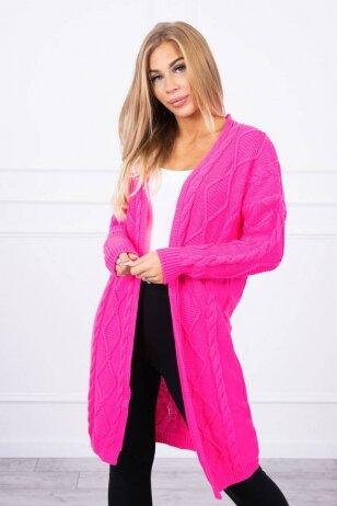 Neoninės rožinės spalvos ilgas megztinis kardiganas MOD1473