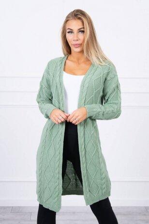 Tamsiai mėtinės spalvos ilgas megztinis kardiganas MOD1473