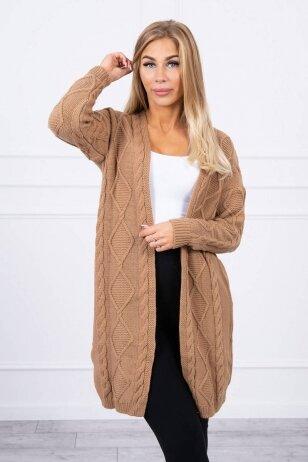 Šviesiai rudas ilgas megztinis kardiganas MOD1473