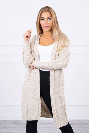 Smėlinės spalvos ilgas megztinis kardiganas MOD1473