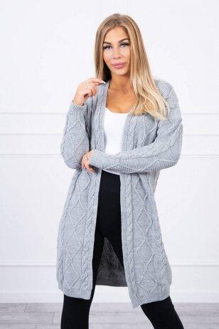 Pilkas ilgas megztinis kardiganas MOD1473