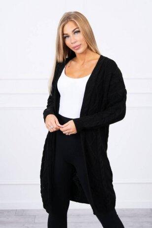 Juodas ilgas megztinis kardiganas MOD1473