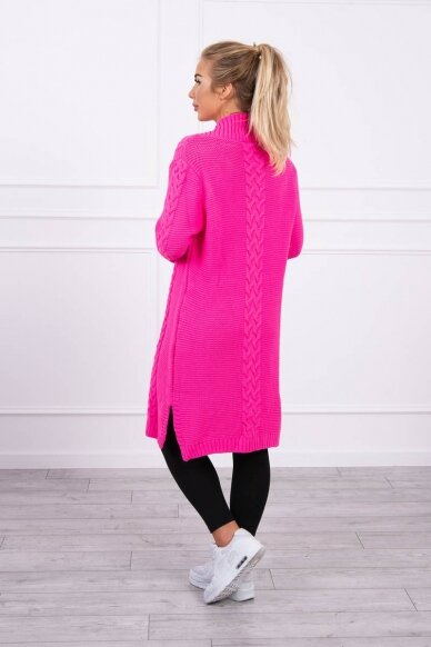 Neoninės rožinės spalvos megztinis kardiganas MOD306 2