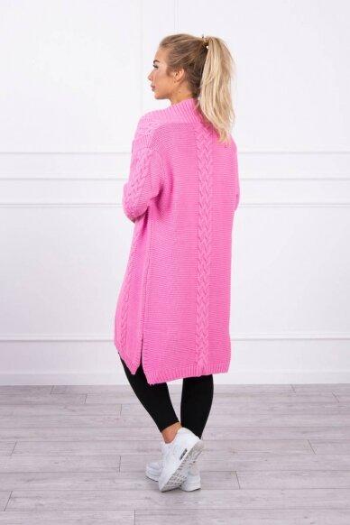 Šviesiai rožinės spalvos megztinis kardiganas MOD306 2