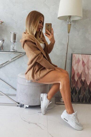Šviesiai rudas megztinis kardiganas MOD378 3