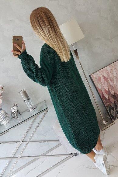 Tamsiai žalias ilgas megztinis kardiganas MOD307 2