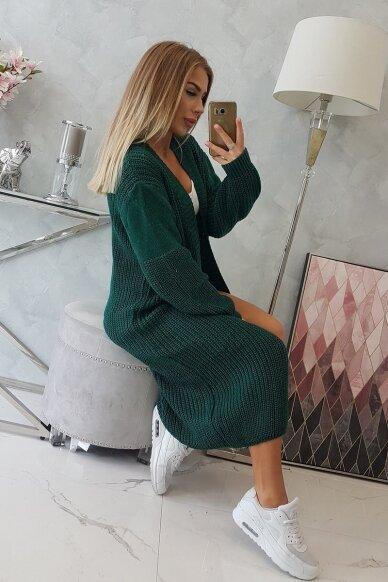 Tamsiai žalias ilgas megztinis kardiganas MOD307 3