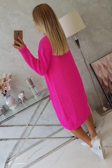 Neoninės rožinės spalvos ilgas megztinis kardiganas MOD307 2