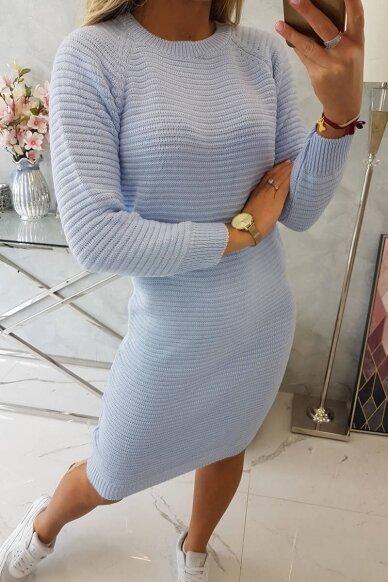 Žydros spalvos ilgas megztinis suknelė MOD492