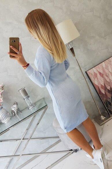 Žydros spalvos ilgas megztinis suknelė MOD492 2