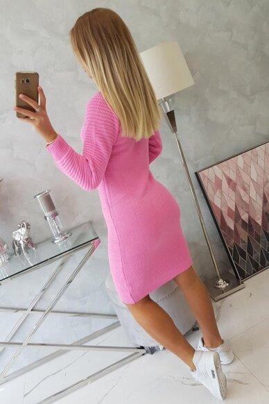 Rožinės spalvos ilgas megztinis suknelė MOD492 2