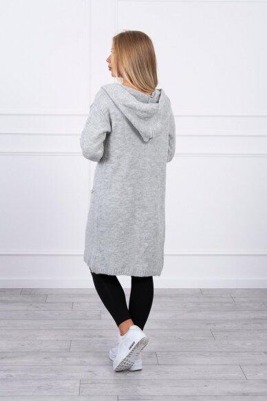 Šviesiai pilkas megztinis kardiganas MOD736 3