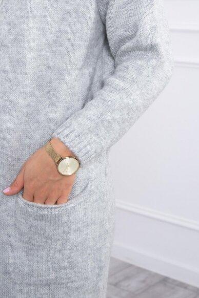 Šviesiai pilkas megztinis kardiganas MOD736 4