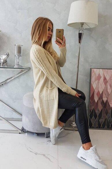 Smėlinės spalvos ilgas megztinis kardiganas MOD728 3