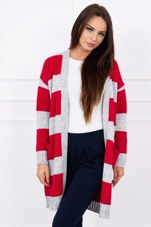 Dryžuotas ilgas megztinis kardiganas MOD413 - pilka+raudona