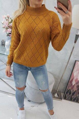 Garstyčių spalvos megztinis MOD784