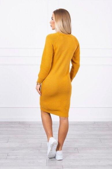 Garstyčių spalvos ilgas megztinis suknelė MOD492 2