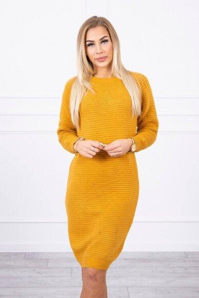 Garstyčių spalvos ilgas megztinis suknelė MOD492 3