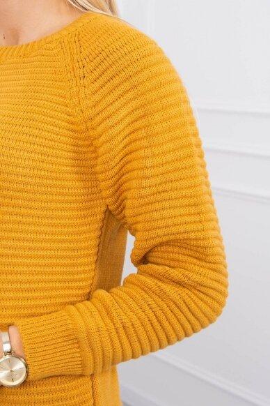 Garstyčių spalvos ilgas megztinis suknelė MOD492 4